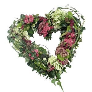 open heart wreath funeral flower arrangement